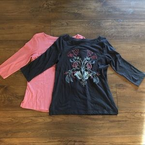 Lot of two LOFT 3/4 length sleeve shirts